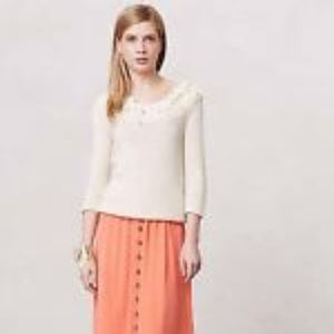 Anthro Sir Sir Correll Ivory Chunky Knit Sweater M